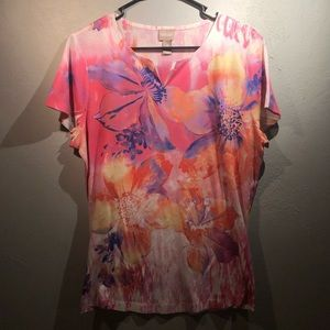 Ladies Chico Watercolor Floral Print Shirt